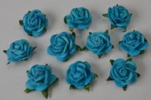 50 TURQUOISE Mulberry Paper Roses (only flower head)